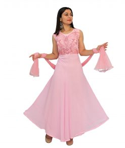 Georgette Blend Stitched Flared/A-line Gown (Pink)