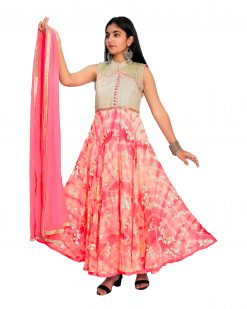 Embroidered Georgette Blend Stitched Flared/A-line Gown (Multicolor)