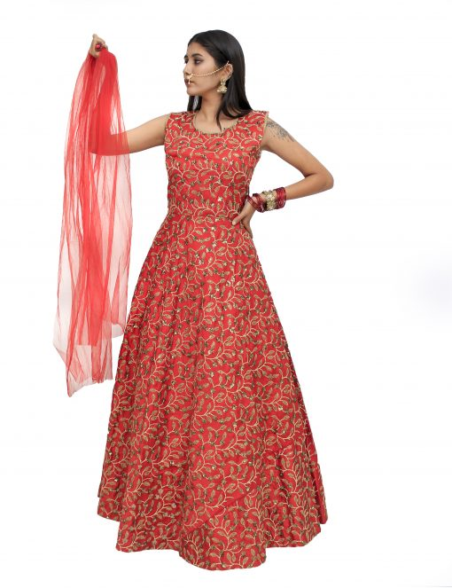 Embroidered Silk Blend Stitched Flared/A-line Gown (Red)