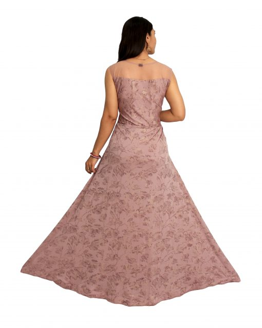 Embroidered Polyester Stitched Flared/A-line Gown (Pink)