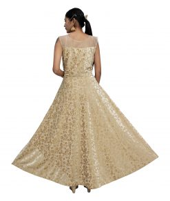Embroidered Velvet Stitched Flared/A-line Gown (Gold)