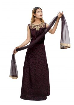 Embroidered Polyester Stitched Flared/A-line Gown (Maroon)