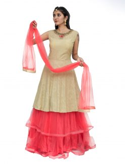 Embroidered Polyester Stitched Flared/A-line Gown (Pink, Beige)