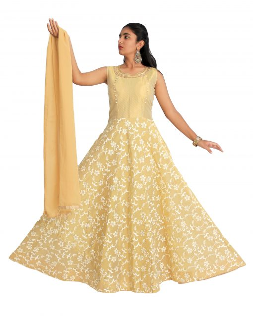 Embroidered Polyester Stitched Flared/A-line Gown (Gold)