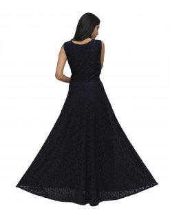 Polyester Stitched Flared/A-line Gown (Dark Blue)