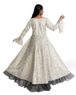 Printed, Embroidered Silk Blend Stitched Flared/A-line Gown (Silver)