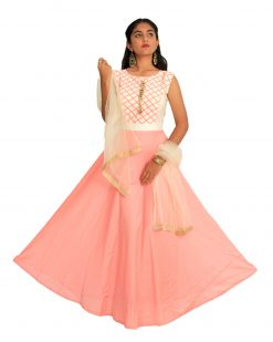 Solid Silk Blend Stitched Flared/A-line Gown (Pink)