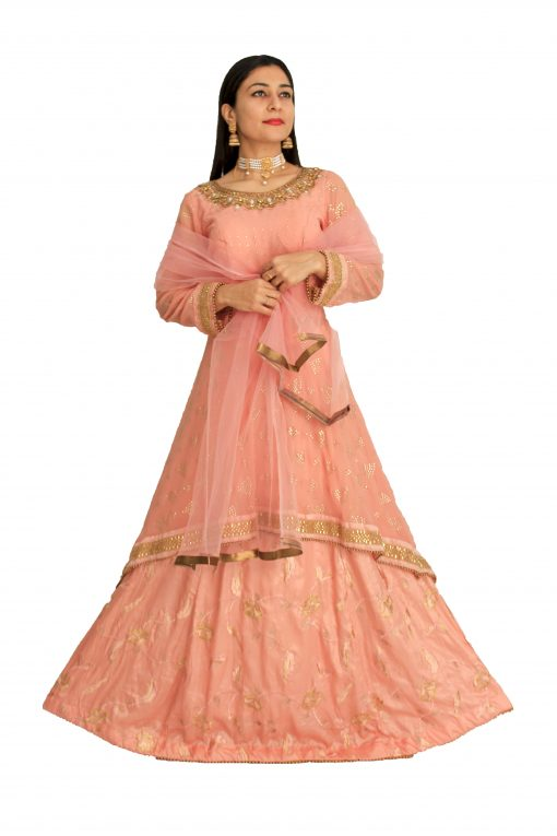 Silk Blend Stitched Flared/A-line Gown (Pink)