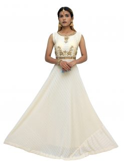 Embroidered Polyester Stitched Flared/A-line Gown (White)